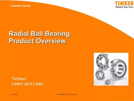 Timken Learn and Lead Customer Training 5/17/2007Radial Ball Product Overview1 Radial Ball Bearing Product Overview.