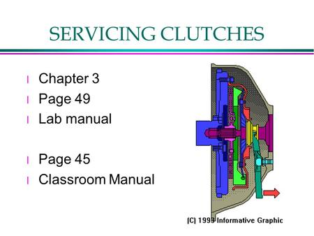 SERVICING CLUTCHES l Chapter 3 l Page 49 l Lab manual l Page 45 l Classroom Manual.