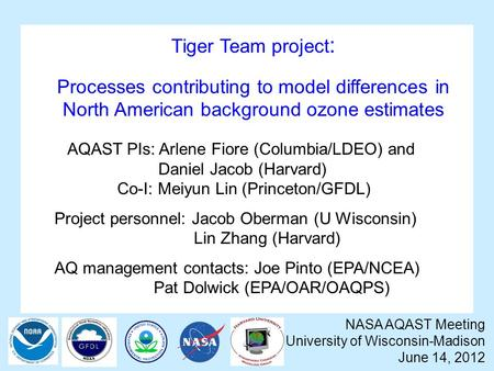 Tiger Team project : Processes contributing to model differences in North American background ozone estimates NASA AQAST Meeting University of Wisconsin-Madison.