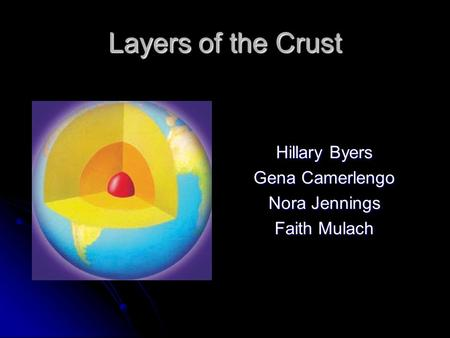 Layers of the Crust Hillary Byers Gena Camerlengo Nora Jennings Faith Mulach.