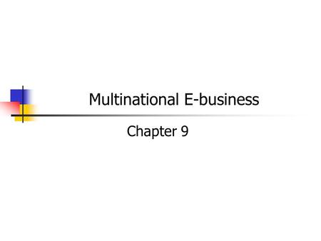 Multinational E-business Chapter 9. E-business Business to business (B2B) transactions 70 – 85% of all e-commerce Online sales – customer can order a.