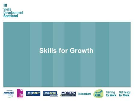 Skills for Growth. Background Skills for Growth is a key SDS project under two Goals - Enable people to fulfil their potential and make skills work for.