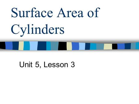 Surface Area of Cylinders Unit 5, Lesson 3. What is a Cylinder? Definition: –A three dimensional figure with 2 circular bases. Formula for Surface Area: