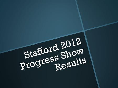 Stafford 2012 Progress Show Results. GOATS Adrianna Ortiz- class one Nicole Jones- class one Tristyn Reed- 7 th place class one Tucker Kisel- class two.
