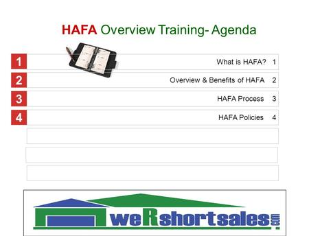 HAFA Overview Training- Agenda Overview & Benefits of HAFA 2 HAFA Process 3 HAFA Policies 4 1 2 3 4 What is HAFA? 1 1.