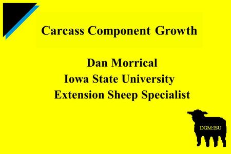 Dan Morrical Iowa State University Extension Sheep Specialist Carcass Component Growth DGM:ISU.