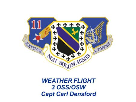 WEATHER FLIGHT 3 OSS/OSW Capt Carl Densford. Overview  Mission  Flying Squadron Support  Unit Organization/Manning  Products  Alaska Weather Challenges.