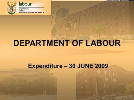 DEPARTMENT OF LABOUR Expenditure – 30 JUNE 2009. MAIN DIVISIONS OF THE VOTE.