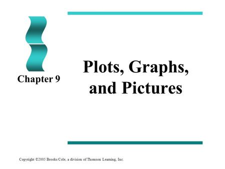Copyright ©2005 Brooks/Cole, a division of Thomson Learning, Inc. Plots, Graphs, and Pictures Chapter 9.
