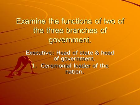 Examine the functions of two of the three branches of government.