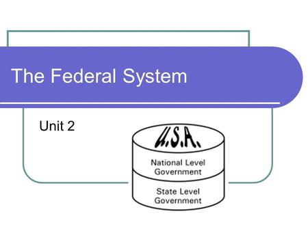 The Federal System Unit 2. What is it? System of government created by the U.S. Constitution that divides governmental power between national and state.