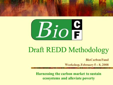 Harnessing the carbon market to sustain ecosystems and alleviate poverty Draft REDD Methodology BioCarbon Fund Workshop, February 5 – 8, 2008.
