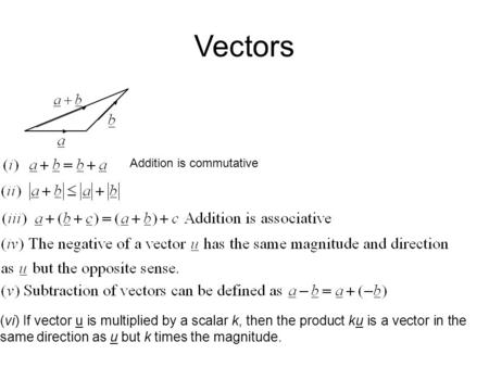 Vectors Addition is commutative (vi) If vector u is multiplied by a scalar k, then the product ku is a vector in the same direction as u but k times the.