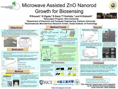 Microwave Assisted ZnO Nanorod Growth for Biosensing This material is based upon work supported by the National Science Foundation.