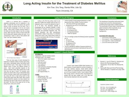 POSTER TEMPLATE BY: www.PosterPresentations.com Long Acting Insulin for the Treatment of Diabetes Mellitus Kim Tran, Eric Tang, Randa Rifai, Udo Oji Touro.