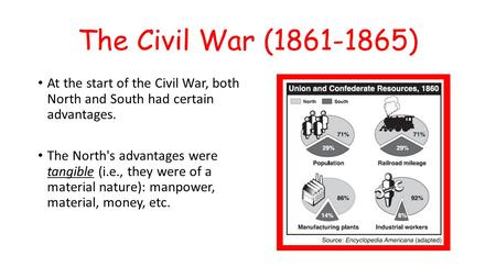 The Civil War (1861-1865) At the start of the Civil War, both North and South had certain advantages. The North's advantages were tangible (i.e., they.