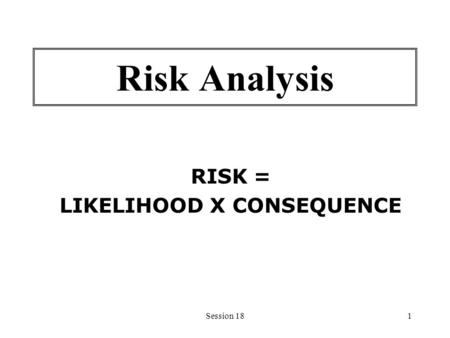 Session 181 Risk Analysis RISK = LIKELIHOOD X CONSEQUENCE.
