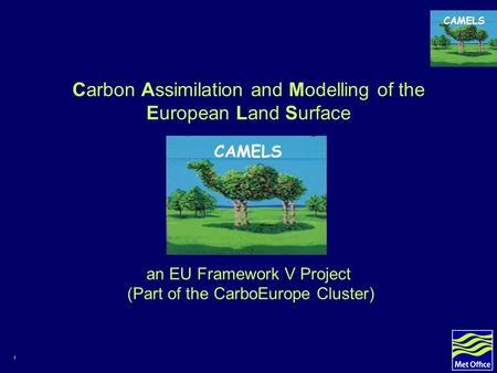 1 CAMELS Carbon Assimilation and Modelling of the European Land Surface an EU Framework V Project (Part of the CarboEurope Cluster) CAMELS.