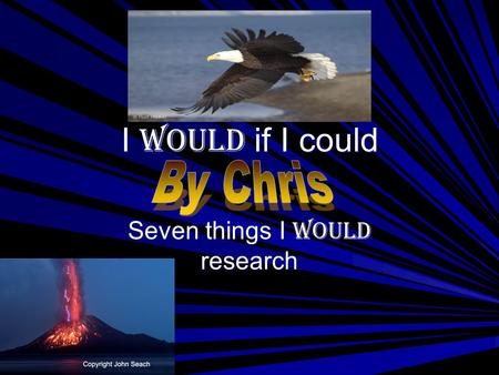 I would if I could Seven things I would research.