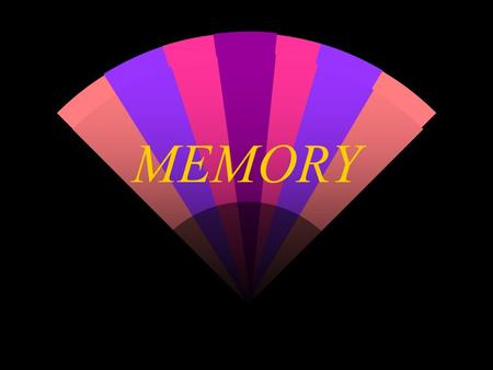 "MEMORY. What do we know about memory? w The ""7 +/- 2"" Rule Memory works best on sets of 5-9 items w Certain strategies can improve memory 'Chunking' things."