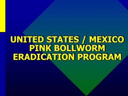 UNITED STATES / MEXICO PINK BOLLWORM ERADICATION PROGRAM.