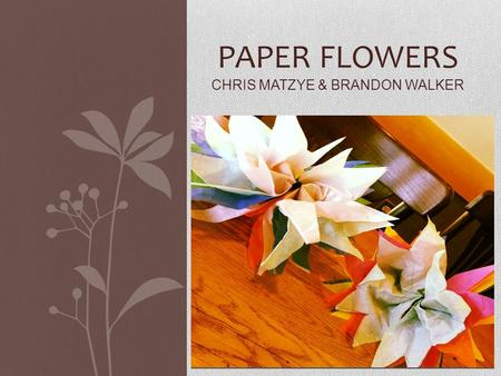 PAPER FLOWERS CHRIS MATZYE & BRANDON WALKER. Supplies Needed / Precautions Supplies: Tissue paper Scissors Fuzzy sticks pipe cleaners Precautions: Be.