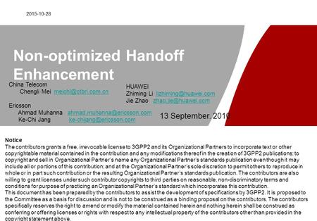 2015-10-28 Non-optimized Handoff Enhancement HUAWEI Zhiming Li Jie Zhao
