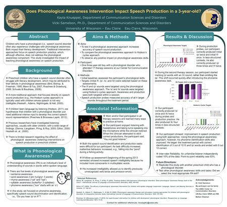 Does Phonological Awareness Intervention Impact Speech Production in a 3-year-old? Kayla Knueppel, Department of Communication Sciences and Disorders Vicki.
