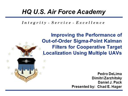 HQ U.S. Air Force Academy I n t e g r i t y - S e r v i c e - E x c e l l e n c e Improving the Performance of Out-of-Order Sigma-Point Kalman Filters.
