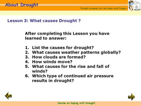 Virtual Academy for the Semi Arid Tropics Course on Coping with Drought About Drought After completing this Lesson you have learned to answer: 1.List the.