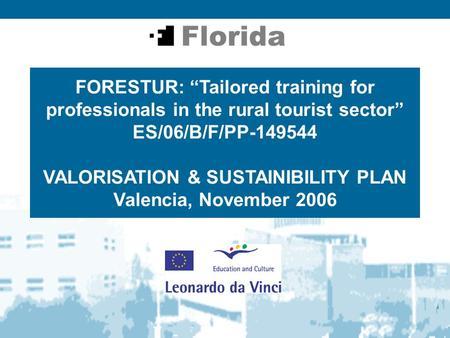 "FORESTUR: ""Tailored training for professionals in the rural tourist sector"" ES/06/B/F/PP-149544 VALORISATION & SUSTAINIBILITY PLAN Valencia, November 2006."