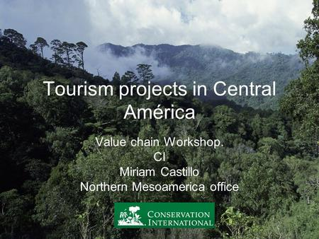 Tourism projects in Central América Value chain Workshop. CI Miriam Castillo Northern Mesoamerica office.