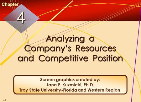 4-1 Analyzing a Company's Resources and Competitive Position 44 Chapter Screen graphics created by: Jana F. Kuzmicki, Ph.D. Troy State University-Florida.