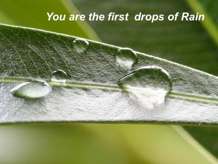 Page 1 You are the first drops of Rain. Page 2 The first drops turn into steam but pave the way for other drops that soak the earth and make it fertile.