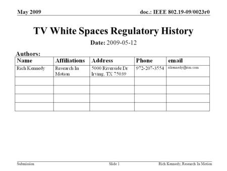 Doc.: IEEE 802.19-09/0023r0 Submission May 2009 Rich Kennedy, Research In MotionSlide 1 TV White Spaces Regulatory History Date: 2009-05-12 Authors: