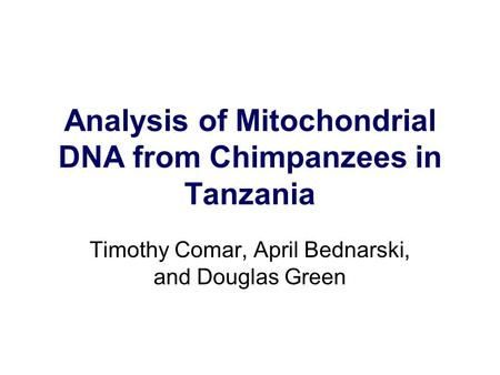 Analysis of Mitochondrial DNA from Chimpanzees in Tanzania Timothy Comar, April Bednarski, and Douglas Green.