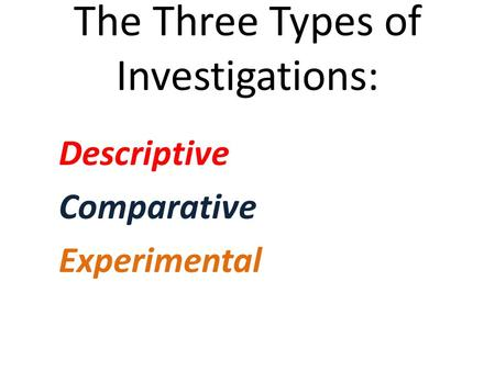 The Three Types of Investigations: