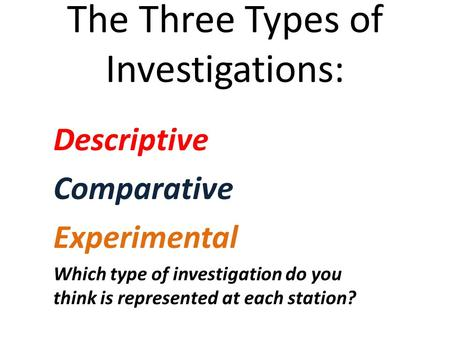 The Three Types of Investigations: Descriptive Comparative Experimental Which type of investigation do you think is represented at each station?