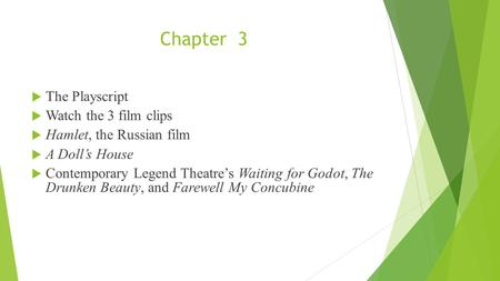 Chapter 3  The Playscript  Watch the 3 film clips  Hamlet, the Russian film  A Doll's House  Contemporary Legend Theatre's Waiting for Godot, The.