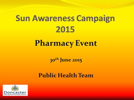Pharmacy Event 30 th June 2015 Public Health Team.