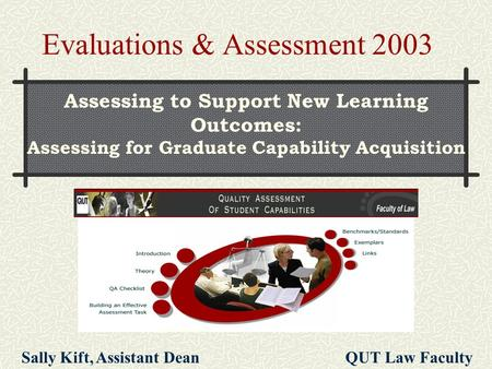 Assessing to Support New Learning Outcomes: Assessing for Graduate Capability Acquisition Evaluations & Assessment 2003 Sally Kift, Assistant Dean QUT.