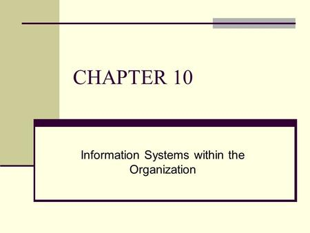 CHAPTER 10 Information Systems within the Organization.