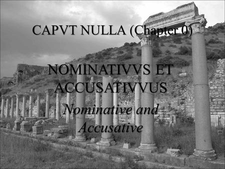 CAPVT NULLA (Chapter 0) NOMINATIVVS ET ACCUSATIVVUS Nominative and Accusative.