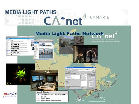 Media Light Paths Network. AGLP - Light path enabled AccessGrid SFU Team –Brian Corrie –Todd Zimmerman –Dominic Lepaine SFU.