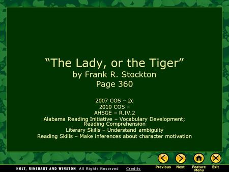 lady or the tiger by frank stockton