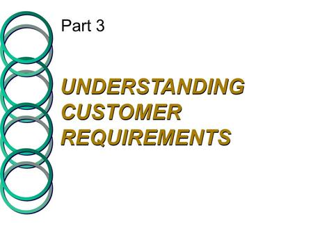 Part 3 UNDERSTANDING CUSTOMER REQUIREMENTS. Company Perceptions of Consumer Expectations Expected Service CUSTOMER COMPANY Listening Gap Provider Gap.