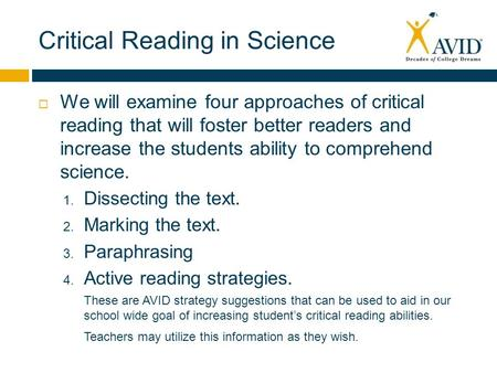Critical Reading in Science