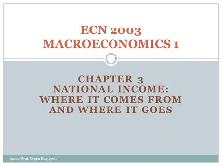 CHAPTER 3 NATIONAL INCOME: WHERE IT COMES FROM AND WHERE IT GOES ECN 2003 MACROECONOMICS 1 Assoc. Prof. Yeşim Kuştepeli.