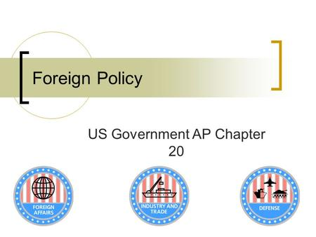Foreign Policy US Government AP Chapter 20. Policy Majori- tarian Interest Group ClientEntrepre neurial Who Pays? AllFewAllFew Who Benefits? AllFew All.