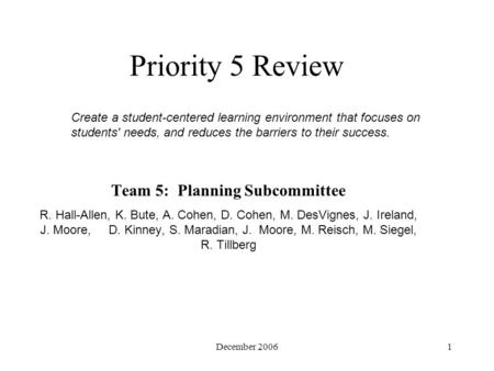 December 20061 Priority 5 Review Team 5: Planning Subcommittee R. Hall-Allen, K. Bute, A. Cohen, D. Cohen, M. DesVignes, J. Ireland, J. Moore, D. Kinney,